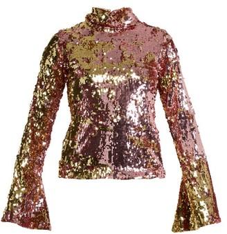 Halpern - Sequin Embellished High Neck Top - Womens - Pink Gold