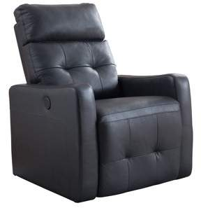 AC Pacific Elsa Collection Contemporary Leather Tufted Upholstered Living Room Electric Recliner Power Chair, Black