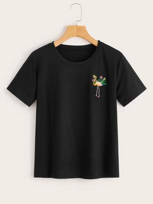 Shein Bird Embroidered Tee