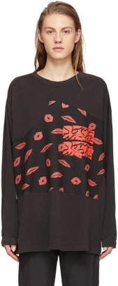 Some Ware Black Long Sleeve Colorblock Hearts T-Shirt