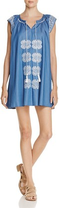 En Créme Embroidered Chambray Mini Dress - 100% Exclusive $58 thestylecure.com