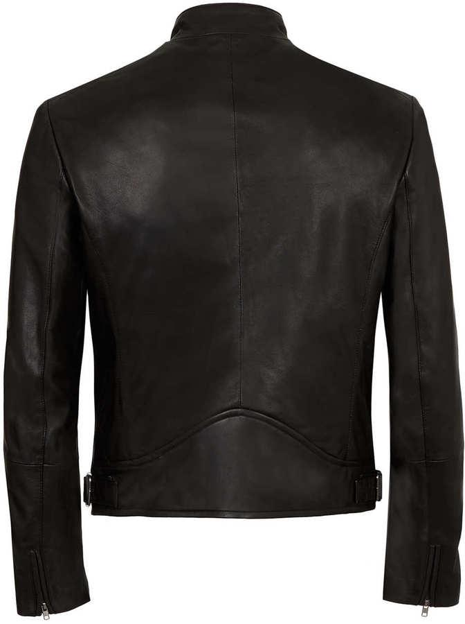 Topman Black Leather Biker Jacket*