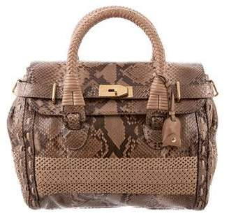 d789e78a6a4d Gucci Python and Woven Leather Handle Bag
