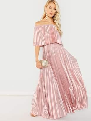Shein Bardot Pleated Maxi Prom Dress
