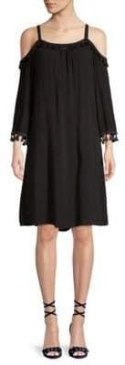 Design History Tassel Cold-Shoulder Shift Dress