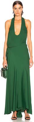 Haider Ackermann Halter Wrap Dress in Malibu Deep Green | FWRD