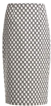Mary Katrantzou Sigma Geometric Jacquard Pencil Skirt - Womens - Black White