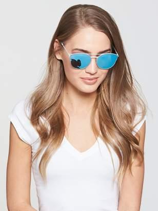 Polaroid Ruthenium Brow Bar Sunglasses