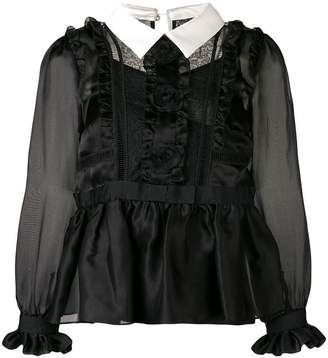 Edward Achour Paris flared ruffle blouse