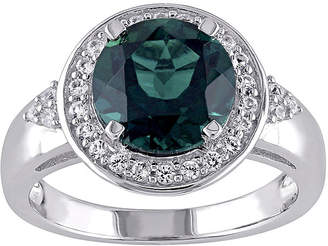 FINE JEWELRY Lab-Created Emerald and White Sapphire Sterling Silver Ring