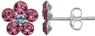 Swarovski Charming Girl Sterling Silver Crystal Flower Stud Earrings - Made with Crystals - Kids