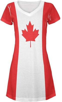Old Glory Canadian Canada Flag All Over Juniors V-Neck Dress LG