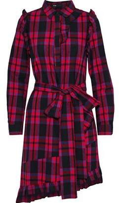 Maje Randra Ruffle-Trimmed Checked Cotton-Flannel Mini Dress