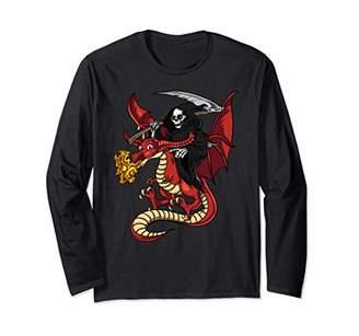Dragon Optical Grim Reaper Skeleton Death Riding Halloween Men Boys Long Sleeve T-Shirt