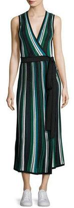 Diane von Furstenberg Cadenza Metallic Striped Sleeveless Wrap Dress $428 thestylecure.com