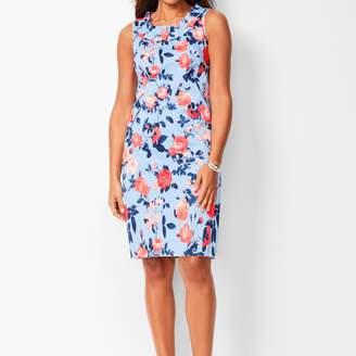 Talbots Pleat-Neck Sheath Dress - Floral