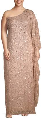 Adrianna Papell Plus Embellished One-Shoulder Long Gown
