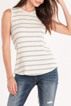 Miss Me White Striped Tank