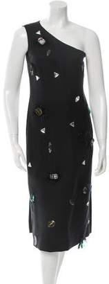 Celine Embellished One-Shoulder Dress w/ Tags