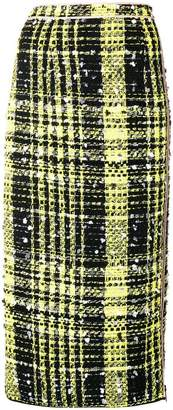 No.21 cheked print pencil skirt