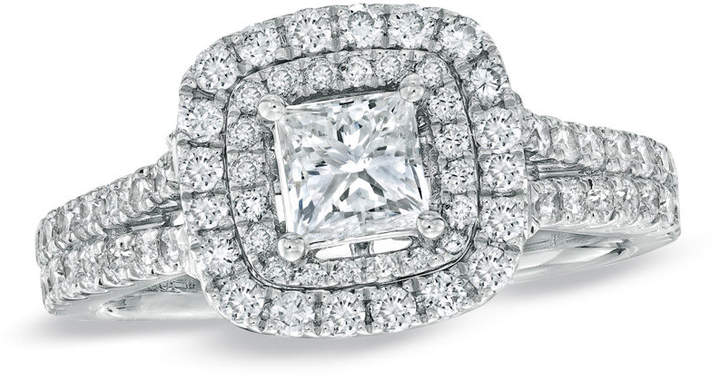 Zales Vera Wang Love Collection 1-1/2 CT. T.W. Princess-Cut Diamond Frame Split Shank Engagement Ring in 14K White Gold