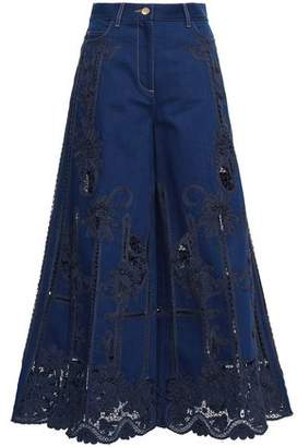Valentino Guipure Lace-paneled High-rise Wide-leg Jeans