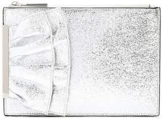 Christian Siriano ruffle detail clutch bag