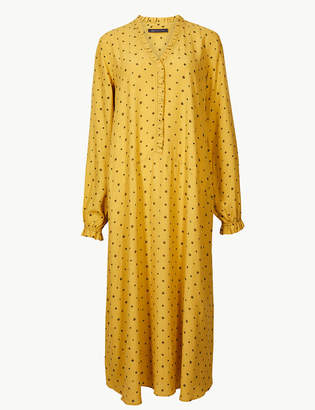 Marks and Spencer Printed Long Sleeve Relaxed Midi Dress