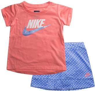Nike Toddler Girl Logo Tee & Polka-Dot Skort