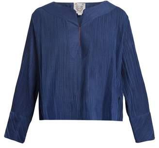 Thierry Colson Jours De Venise Pleated Cotton Blend Top - Womens - Navy