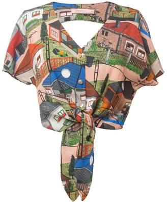 Tomcsanyi Paty Big Houses Print Open Back Tie Hem Top