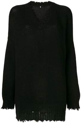 R 13 cashmere distressed sweater