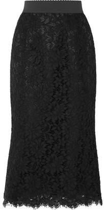 Dolce & Gabbana Guipure Lace Midi Skirt - Black
