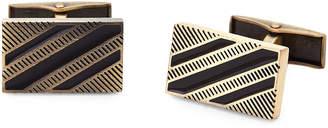 Hart Schaffner Marx Antique Gold-Tone Striped Cuff Links