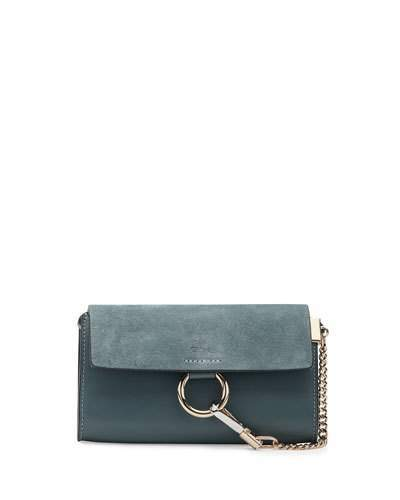 Chloé  Chloe Faye Suede/Leather Wallet-on-a-Strap