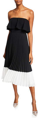 Aidan Mattox Colorblock Strapless Popover-Bodice Pleated Midi Dress