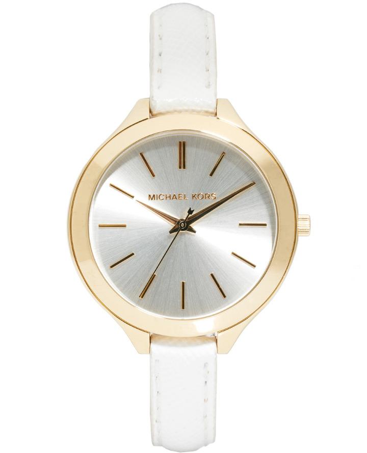 Michael Kors Slim Runway White Strap Watch