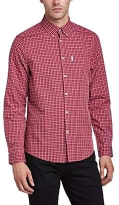 Ben Sherman Men's Satin Over Checkered Button Front Long Sleeve Casual Shirt