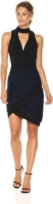 Adelyn Rae Women's Sasha Woven Mock Neck Sheath Dress W/Lace, XS