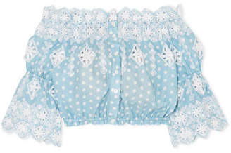 Miguelina Renee Off-the-shoulder Broderie Anglaise-trimmed Polka-dot Cotton Top - Light blue