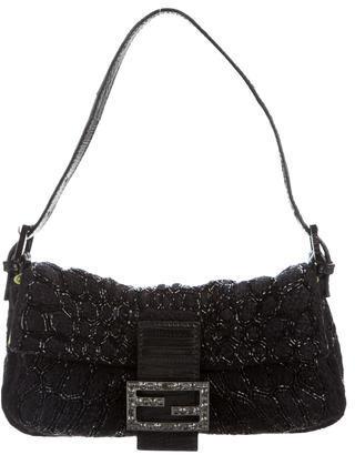FendiFendi Beaded Wool Baguette Bag