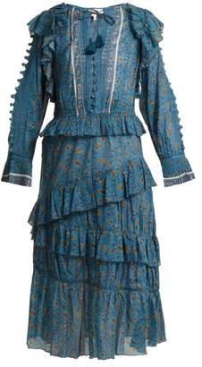 Sea Rosalie Floral Print Ruffle Trimmed Dress - Womens - Blue Multi