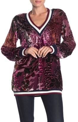 Hale Bob Long Sleeve Silk Blend Velvet Floral Applique Sweater