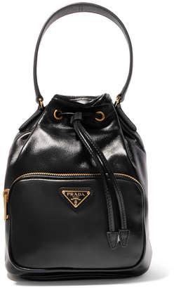 Prada Vela Small Leather Bucket Bag - Black