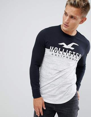 Hollister Tech Logo Long Sleeve Top Color Block in White Marl/Black