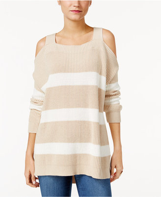 Style & Co Striped Cold-Shoulder Sweater, Only at Macy's $54.50 thestylecure.com