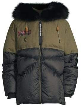 AS65 Fur Trim Canvas& Nylon Down Jacket
