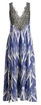 Rachel Comey Women's Panicle Ikat Lace Cotton Maxi Dress - Blue - Size 0