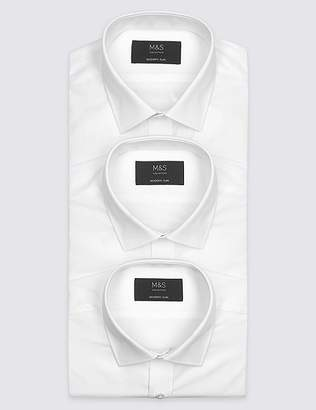 Marks and Spencer 3 Pack Short Sleeve Modern Slim Fit Shirts