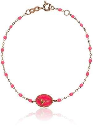 Gigi Clozeau 18k rose gold flamingo beaded bracelet